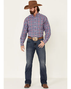 Ariat Men's Brandon Small Plaid Long Sleeve Western Shirt , Blue, hi-res