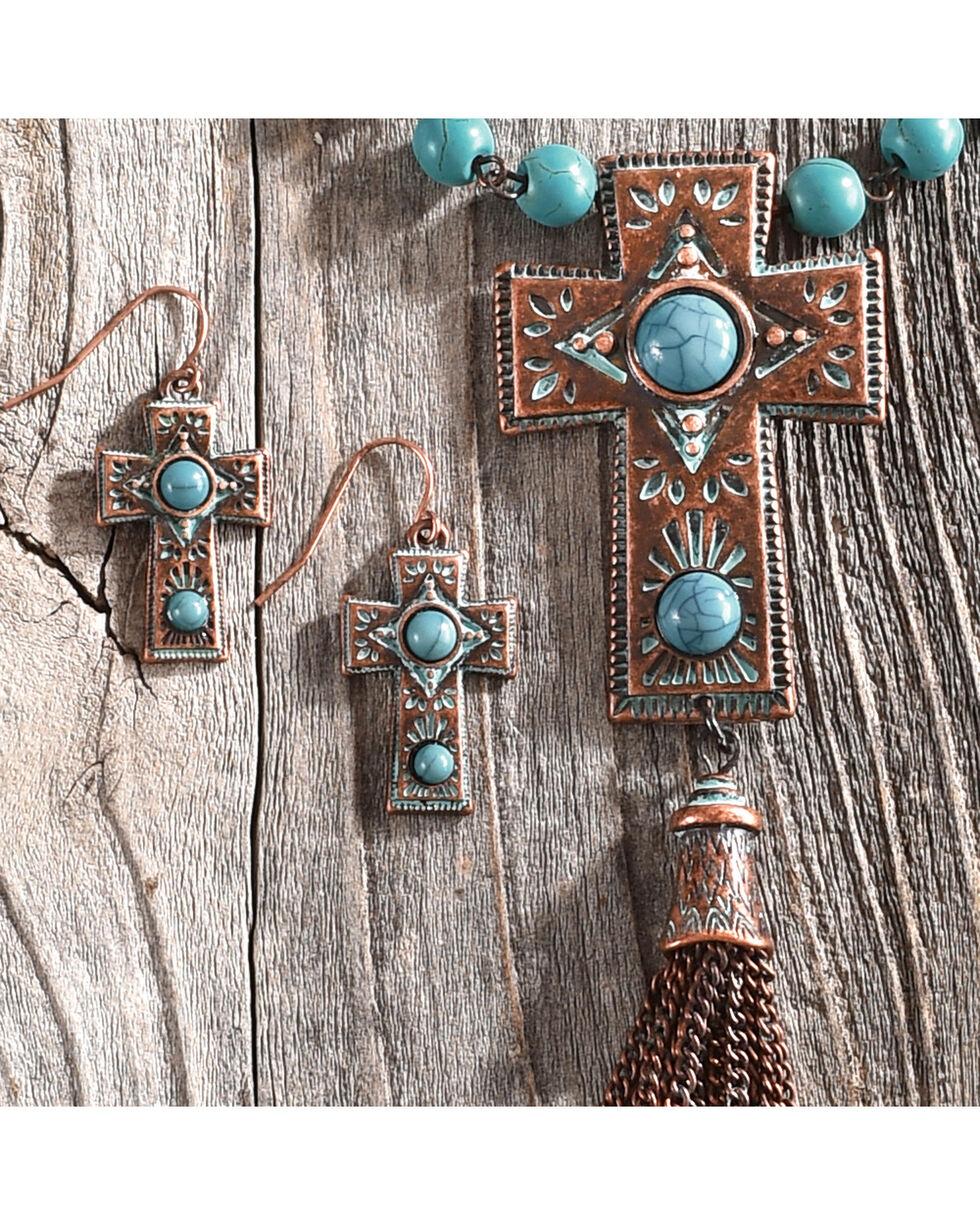 Shyanne Women's La Rosita Beaded Cross Stone Tassel Jewelry Set, Turquoise, hi-res