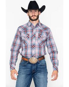 90d91a04b Roper Mens Large Dobby Plaid Snap Long Sleeve Shirt