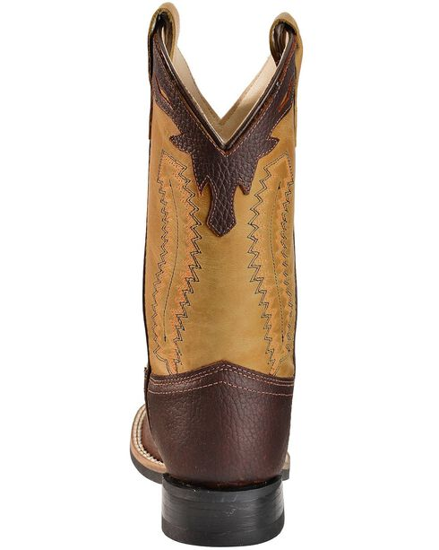 Old West Youth Boys' Thunder Olive Cowboy Boots - Square Toe, Oiled Rust, hi-res