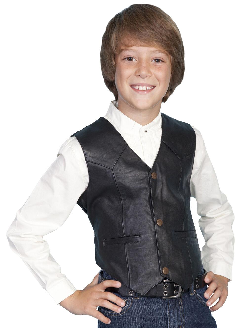 Scully Boys' Lambskin Vest, Black, hi-res