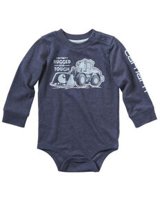 Carhartt Infant Boys' Rugged and Tough Metallic Print Long Sleeve Body Shirt , Heather Blue, hi-res