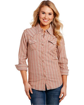 Cowgirl Up Women's Tan Print Pattern Long Sleeve Shirt , Tan, hi-res