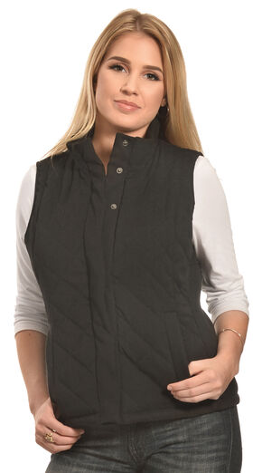 Jane Ashley Women's Black Faux Suede Quilted Vest , Black, hi-res