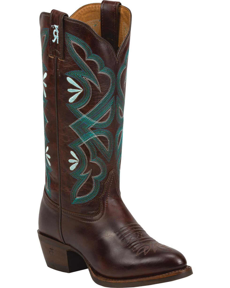 Tony Lama Cafe Rio 3R Western Cowgirl Boots - Round Toe , Brown, hi-res