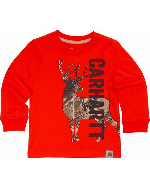 Carhartt Boys' Deer Camo Tee, Orange, hi-res