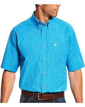 Ariat Men's Pro Series Luther Deep Aqua Plaid Short Sleeve Shirt, Aqua, hi-res
