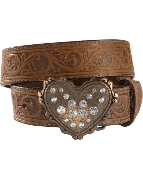 Heart Buckle Tooled Leather Belt - 18-28, Brown, hi-res