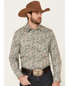 Rock & Roll Denim Men's Teal Paisley Print Long Sleeve Western Shirt , Multi, hi-res