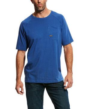 Ariat Men's Blue Rebar Cotton Strong Short Sleeve Logo Crew T-Shirt - Tall , Blue, hi-res