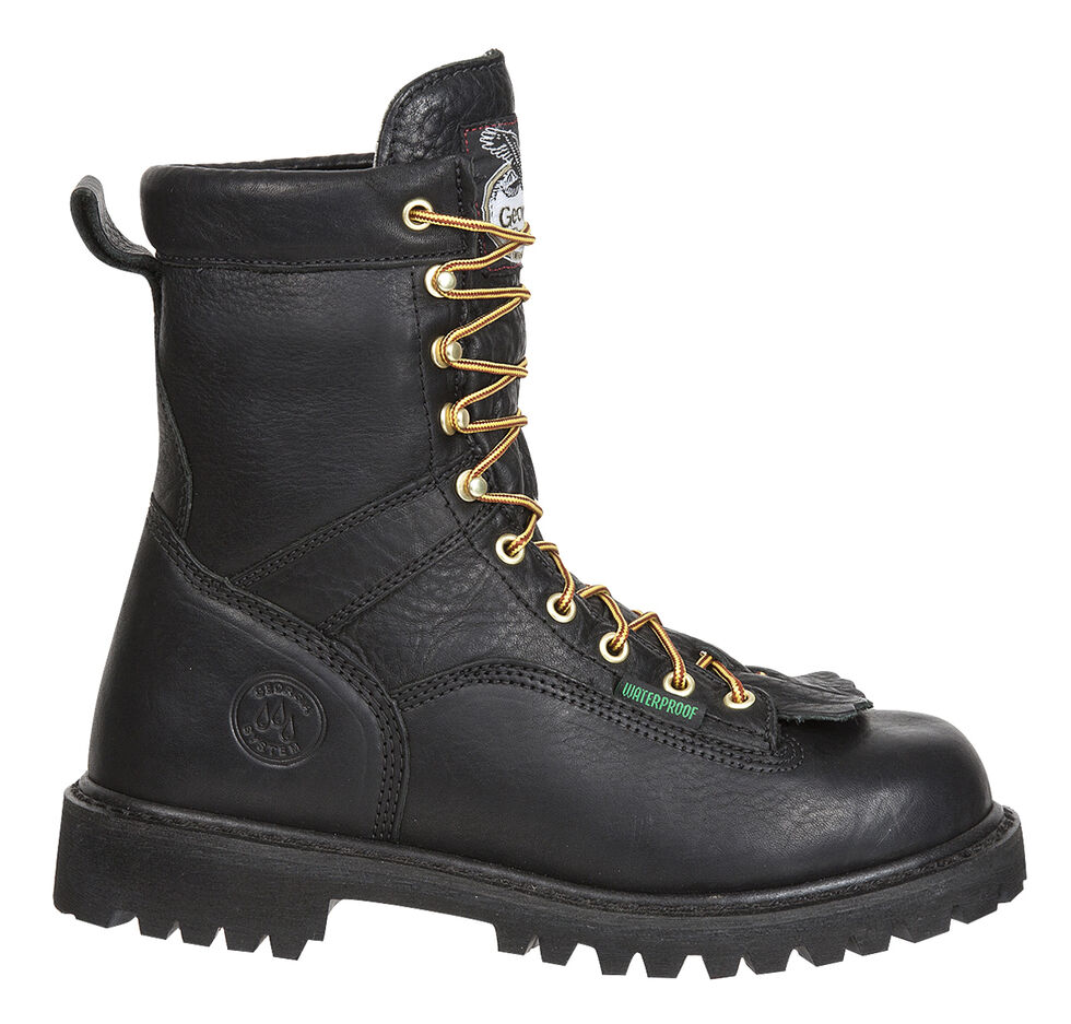 Georgia Waterproof Low Heel Logger Boots, Black, hi-res