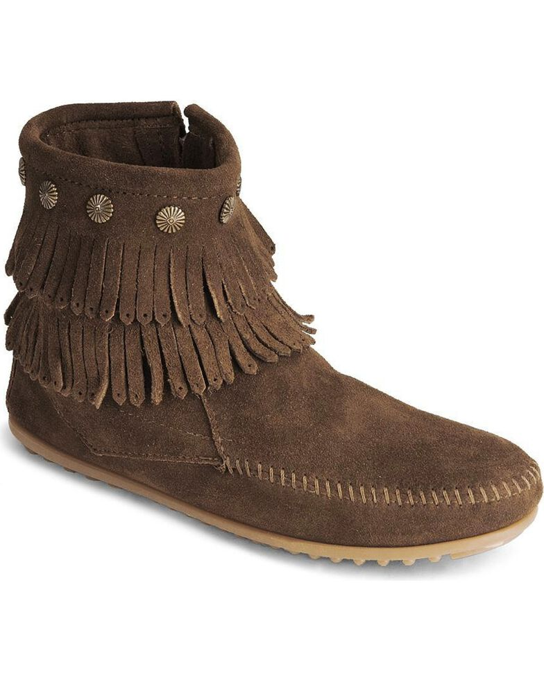 Minnetonka Double Fringe Side Zip Moccasin, Dusty Brn, hi-res