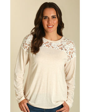 Wrangler Women's Oatmeal Lace Inset Top , Oatmeal, hi-res