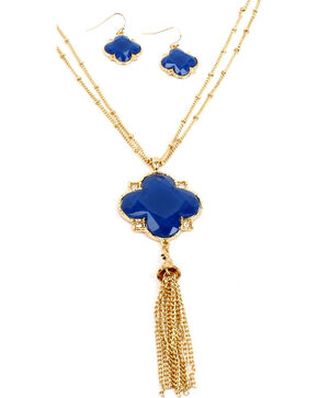Ethel & Myrtle Blue Clover Tassel Jewelry Set, Blue, hi-res