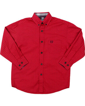 Panhandle Select Boys' Diamond Pattern Long Sleeve Shirt, Burgundy, hi-res