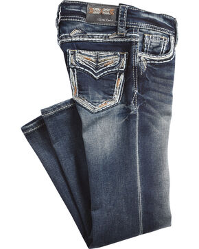 Grace in LA Girls' (4-6X) Indigo Gold Stitched Pocket Jeans - Boot Cut , Indigo, hi-res