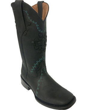 Ferrini Women's Bandita Black Cowgirl Boots - Square Toe, Black, hi-res