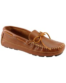 Men's Minnetonka Double Bottom Cowhide Driving Moccasins, Chestnut, hi-res
