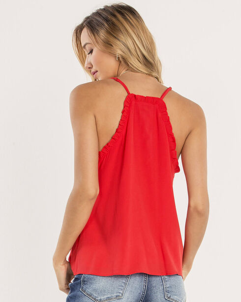 Miss Me Women's Red Button Down Tank with Ruffles, Red, hi-res