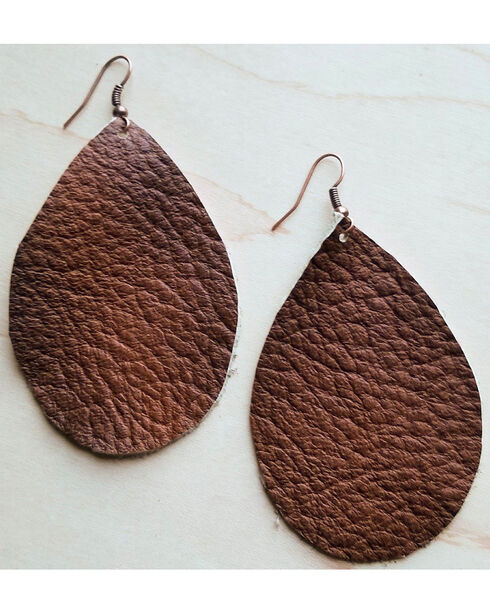 Jewelry Junkie Saddle Tan Leather Teardrop Earrings, Tan, hi-res