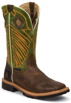 Justin Original Work Boots Men's Green Hybred Work Boots - Steel Toe, Tan, hi-res