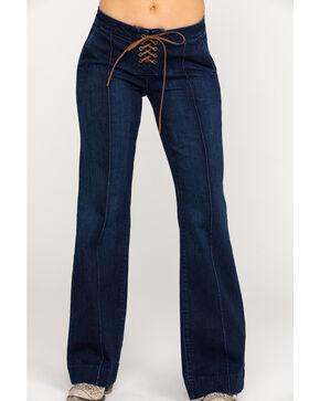 Idyllwind Women's Dark Lace-Up Fit N' Tied Denim Trouser , Blue, hi-res