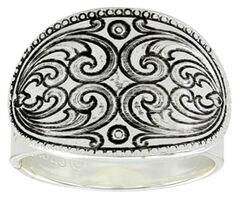 Montana Silversmiths Women's Mirrored Heart Concho Ring, Silver, hi-res