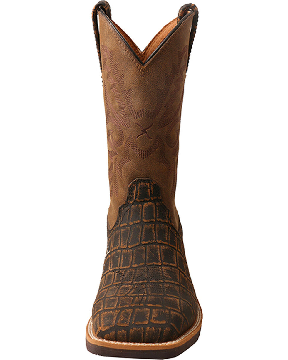 Twisted X Boys' Caiman Print Cowboy Boots - Square Toe, Brown, hi-res