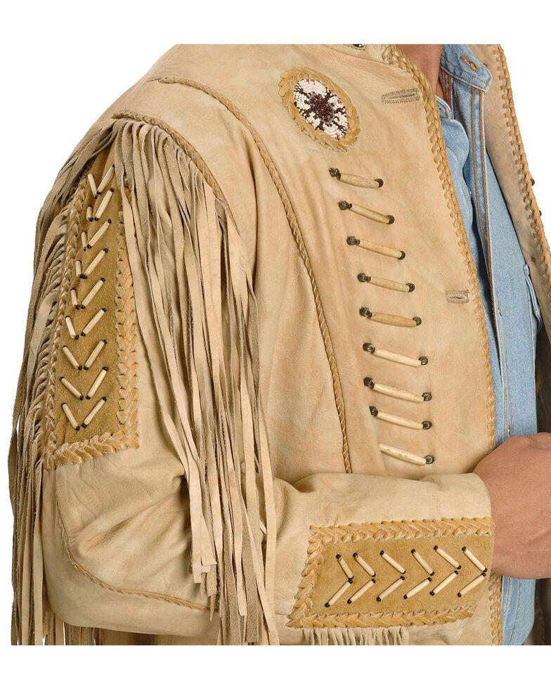Kobler Zapata Fringed Leather Jacket, Cream, hi-res