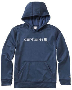 Carhartt Kids Boys' Navy Force Signature Hooded Fleece Sweatshirt , Navy, hi-res