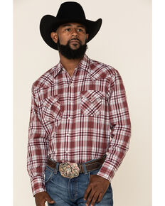 Ely Cattleman Men's Multi Small Plaid Long Sleeve Western Shirt - Tall , Burgundy, hi-res