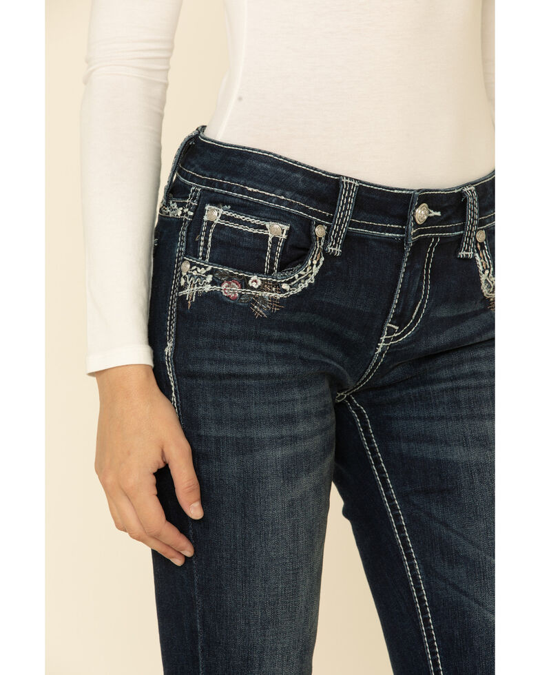 Grace in LA Women's Abstract Border Bootcut Jeans, Blue, hi-res