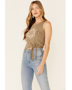 Shyanne Women's Sun & Moon Graphic Tie-Front Tank Top , Olive, hi-res