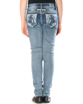 Grace in LA Girls' Distressed Pocket Jeans - Skinny , Indigo, hi-res