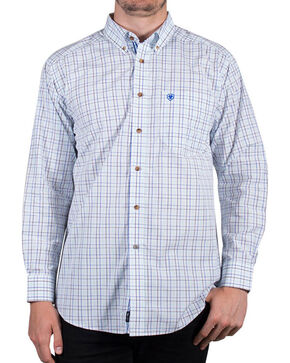 Ariat Men's Irby Plaid Long Sleeve Button Down Shirt , White, hi-res