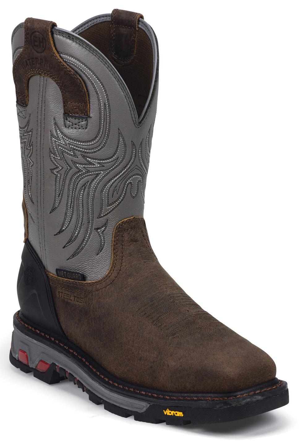 Justin Men's Tanker Silver EH Waterproof MetGuard Work Boots - Steel Toe, Timber, hi-res