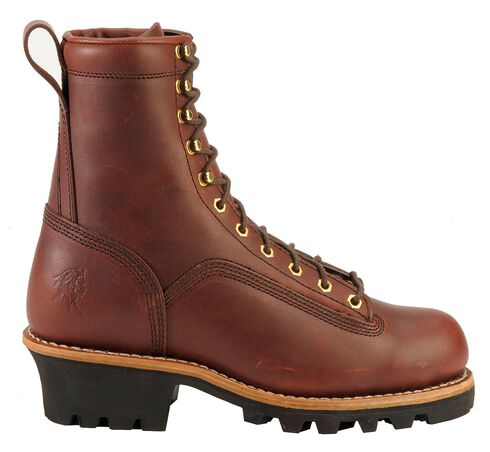 "Chippewa Oiled Redwood 8"" Logger Boots - Round Toe, Redwood, hi-res"