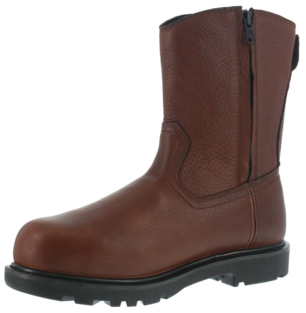 Iron Age Men's Hauler Wellington Side-Zipper Work Boots - Composite Toe , Brown, hi-res
