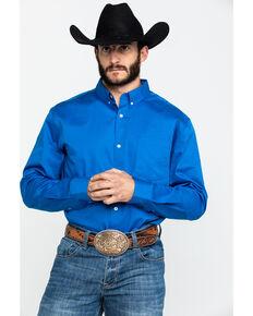 Cody James Core Royal Blue Cobalt Solid Twill Long Sleeve Western Shirt , Navy, hi-res
