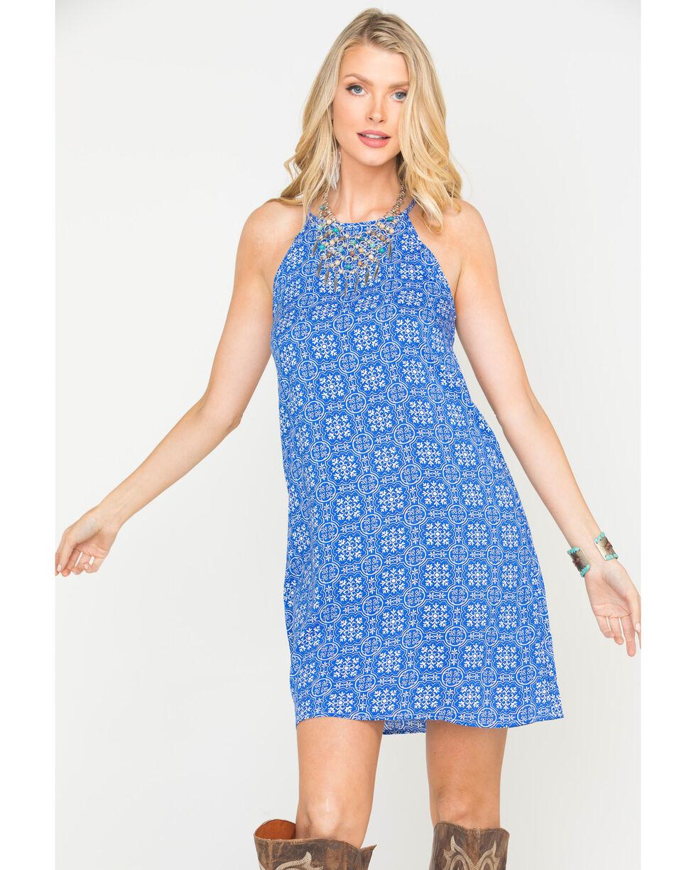 Roper Women's Blue Tile Print Trapeze Dress , Blue, hi-res