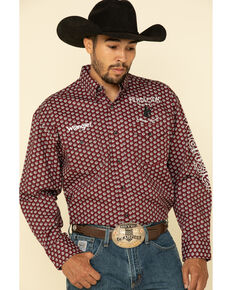 Wrangler Men's Red Geo Print Pendleton Logo Long Sleeve Western Shirt , Red, hi-res