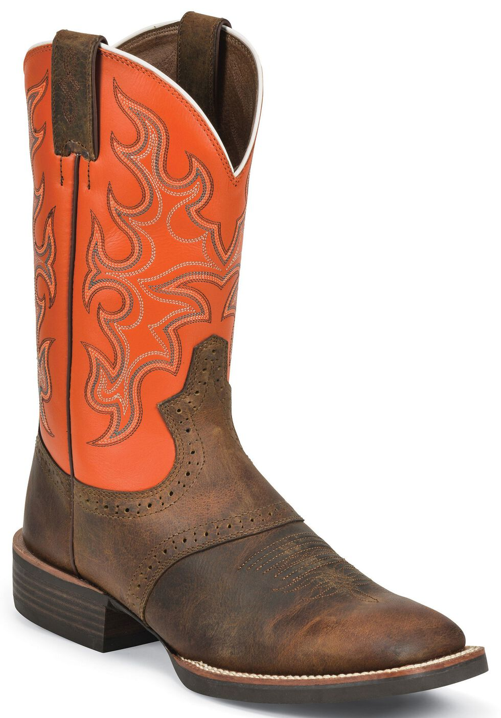 Justin Silver Orange Cattleman Saddle Vamp Cowboy Boots - Wide Square Toe, Tan Distressed, hi-res