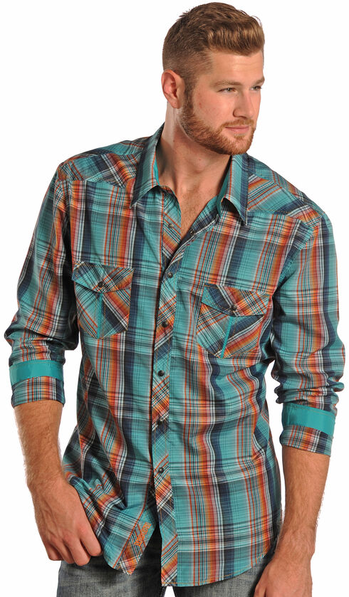 Rock and Roll Cowboy Teal Plaid Poplin Western Shirt , Plaid, hi-res