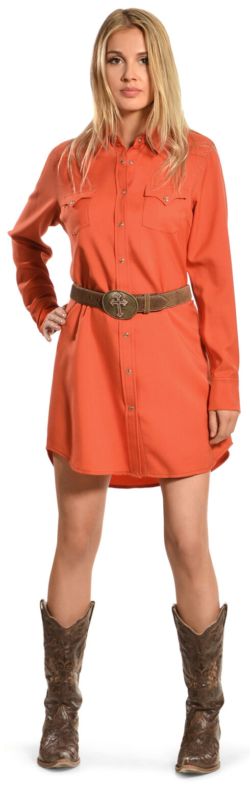 Cowgirl Justice Women's Cinnamon Shirt Dress, Cinnamon, hi-res