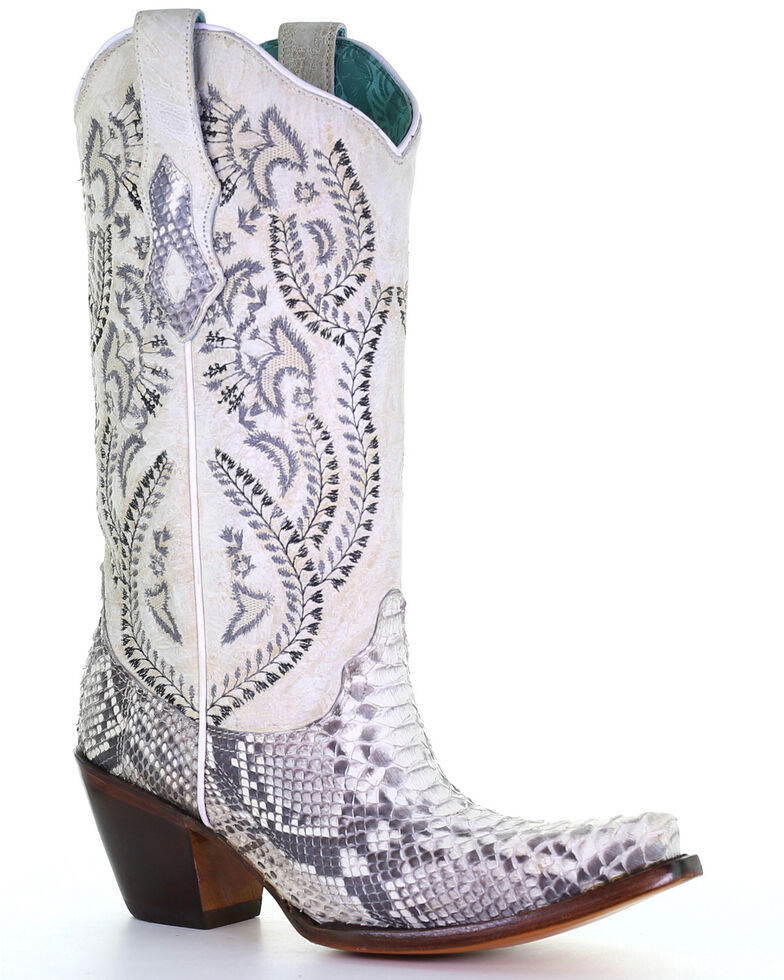 Corral Women's Natural Python Snake Embroidery Western Boots - Snip Toe, Natural, hi-res