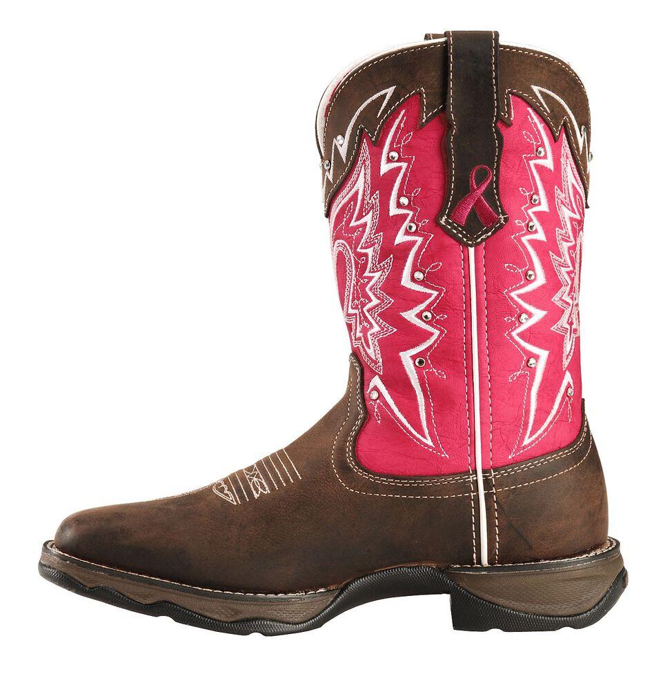 Durango Pink Ribbon Rebel Cowgirl Boots - Square Toe, Distressed, hi-res