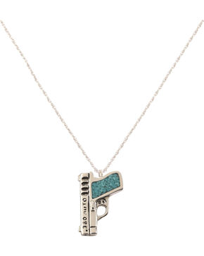 Silver Legends Women's Turquoise 380 Pistol Necklace  , Turquoise, hi-res
