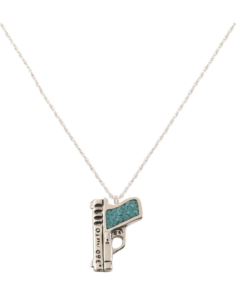 Silver Legends Women's Turquoise 380 Pistol Necklace  , Turquoise, hi-res