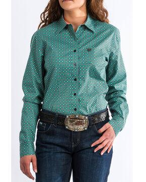 Cinch Women's Western Geo Print Long Sleeve Western Shirt, Turquoise, hi-res