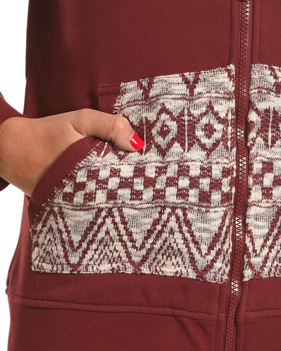 Outback Trading Co. Women's Willa Zip Front Hoodie, Burgundy, hi-res